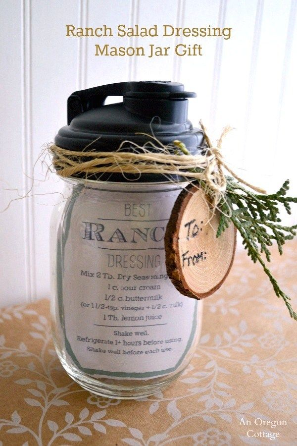 Mason Jar Gift-Ranch Salad Dressing with Printable Recipe Tag