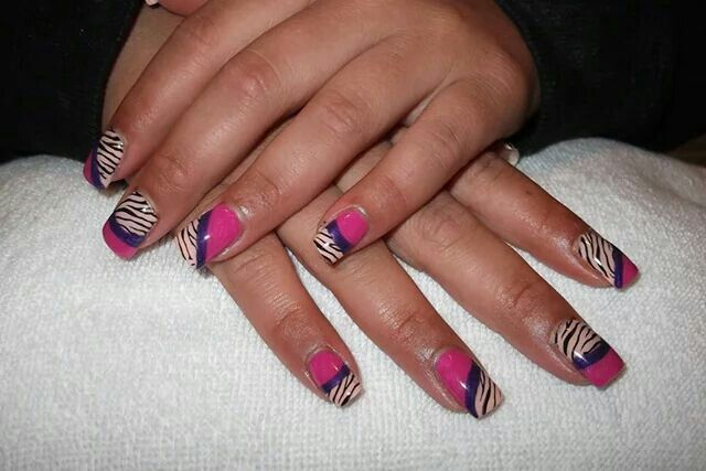 LCN Nails #gelnails #animalprint #zebra #pink #stamping #purple #coral #LCNproductsonly
