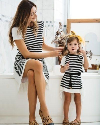Vestido listrado, da Maria Filó (www.mariafilo.com.br). R$ 239, o modelo infantil (nos tamanhos dois a seis anos) e R$ 399, o adulto (nos tamanhos P, M e G). Preços pesquisados em maio de 2015 e sujeitos a alterações