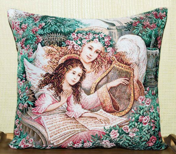 Angel Pillow Cover Decorative Pillow Cover by PoppyVintageCorner