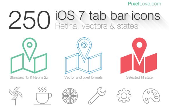 250 iOS 7 thin tab bar icons by pixelloveicons