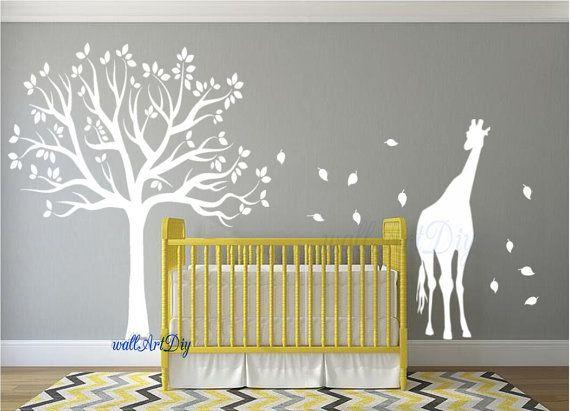Kwekerij muur stickers boom muur stencil witte boom door WallArtDIY