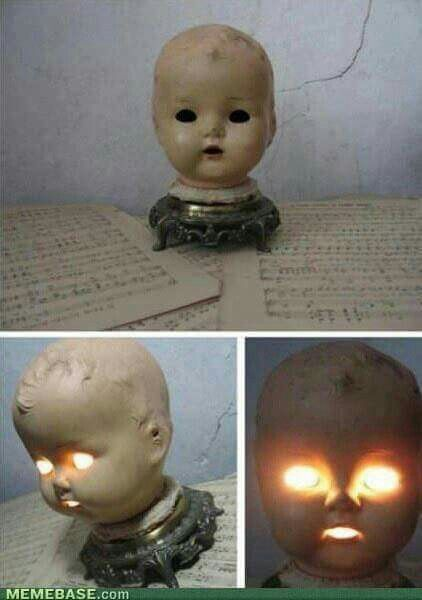 Using old doll heads for lights! Creepy, yet oddly awesome!