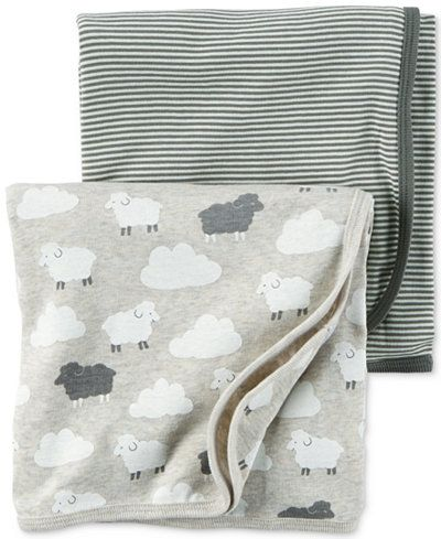Carter's Baby Boys' or Baby Girls' 2-Pack Little Lamb Swaddle Blankets