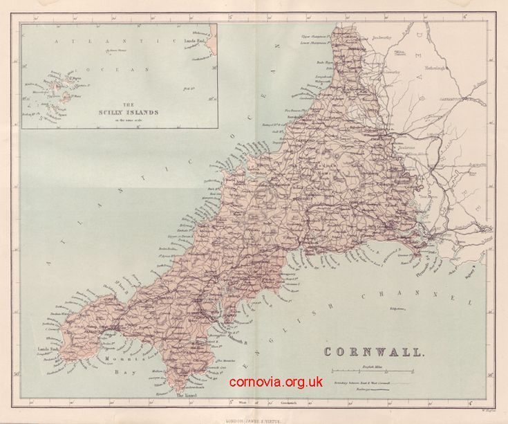 Map of Cornwall by William Hughes, 1868   Taken from The National Gazetteer: A Topographical Dictionary of the British Islands. Compiled from the Latest and Best Sources and illustrated with a Complete County Atlas, and numerous maps, in Three Volumes. Published by Virtue & Co, London, 1868