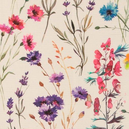 Woven offwhite w multi col field flowers - Stoff & Stil