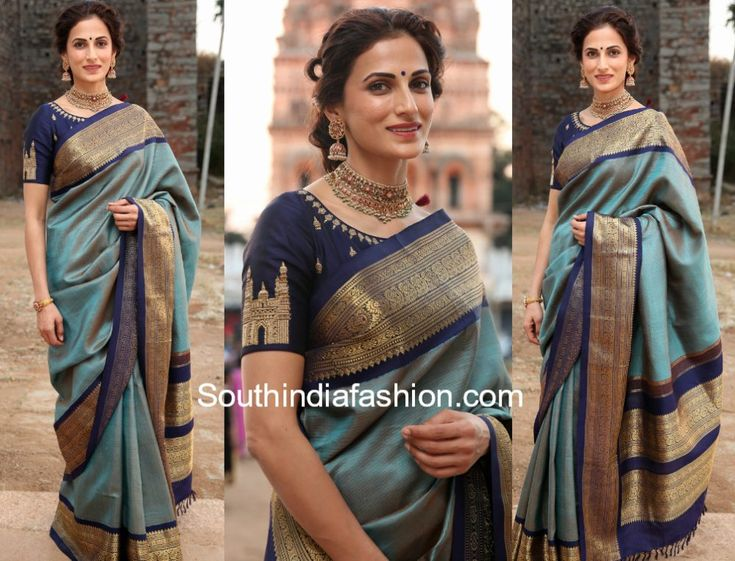 Shilpa Reddy attended Gudi Sambaralu 2018 wearing a blue pattu saree paired with boat neck Charminar embroidered blouse.
