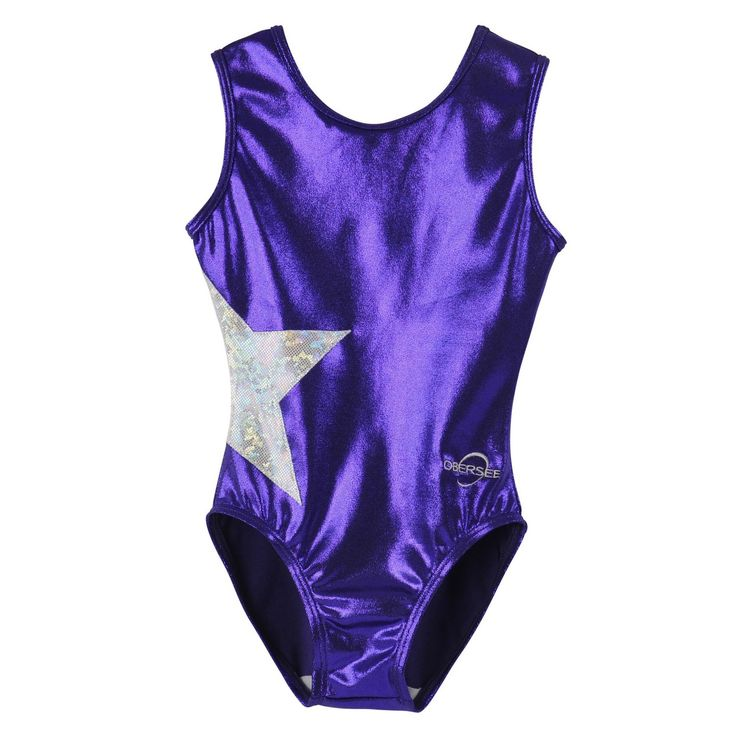 This scoop neck leotard for children features shimmering purple mystique material and a silver hologram star that extends from the front of the leotard to the back. All Obersee leotards are carefully