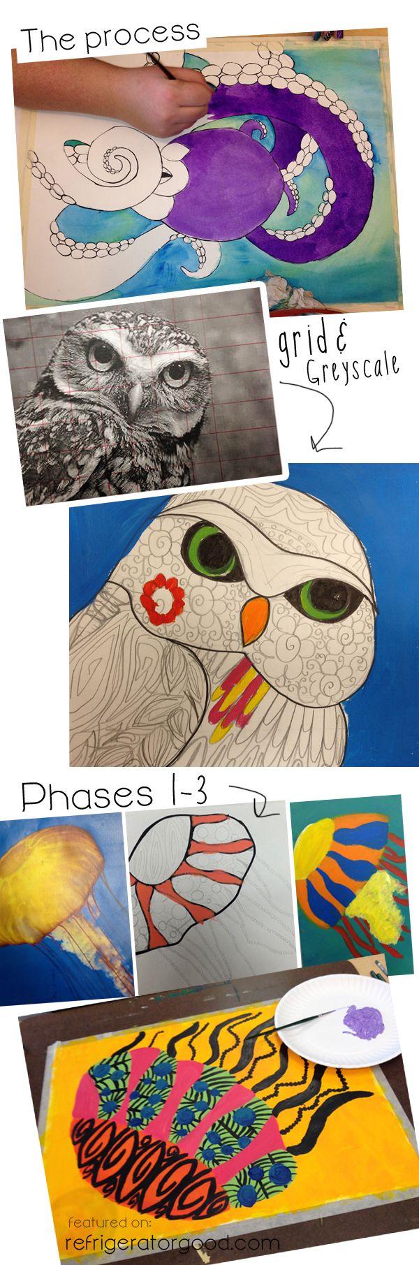 High School Painting I // Decorative Line Animals