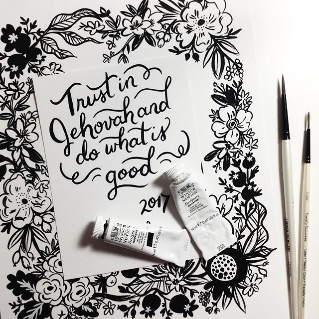WEBSTA @ seasonedwithsaltpaperie - I love the new 2017 year text! Always exciting things coming ahead :) Jehovah always gives us gifts to look forward to!Here's a sneak peek of what's to come - can you guess what it'll be?••••••••#trustinjehovah #2017 #jw #handlettering #calligraphy #brushlettering #handpainted #jwfamily #jwfriends #jwsisters #jwgirl #jwgirls #dailytext #scriptureart #biblequote #jehovahswitnesses #jworg #jw_servants #jw_witnesses