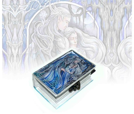 Small wooden jewellery box  hand-painted jewellery box elven
