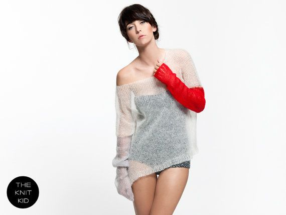 Super kid mohair knit sweater white light grey red by THEKNITKID, €300.00