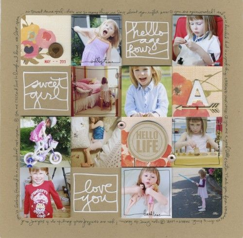 gorgeous layout from @Ali Edwards with link to free png files of hello age 4, love you and sweet girl