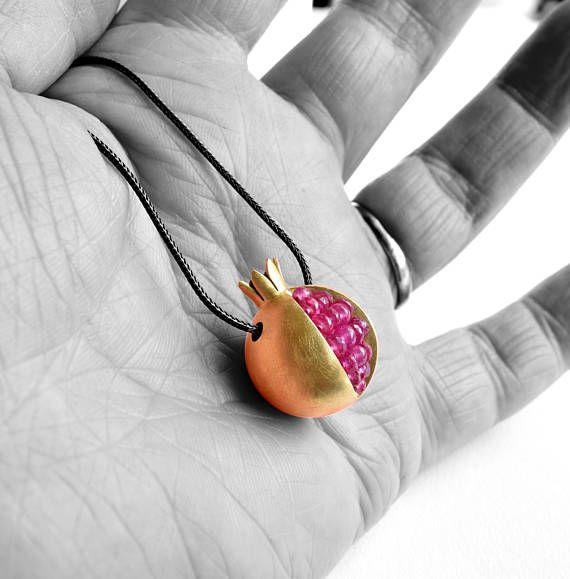 Gioielli di melograno oro Collana  oro 18k collana zaffiro