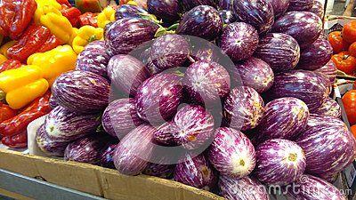 Eggplants with stripes purple