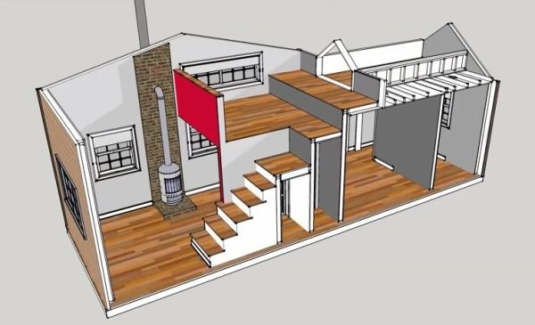 300 Sq. Ft. 10 x 30 Tiny House Design Photo.  Love this tiny home- has a stove for heat, and a real staircase!