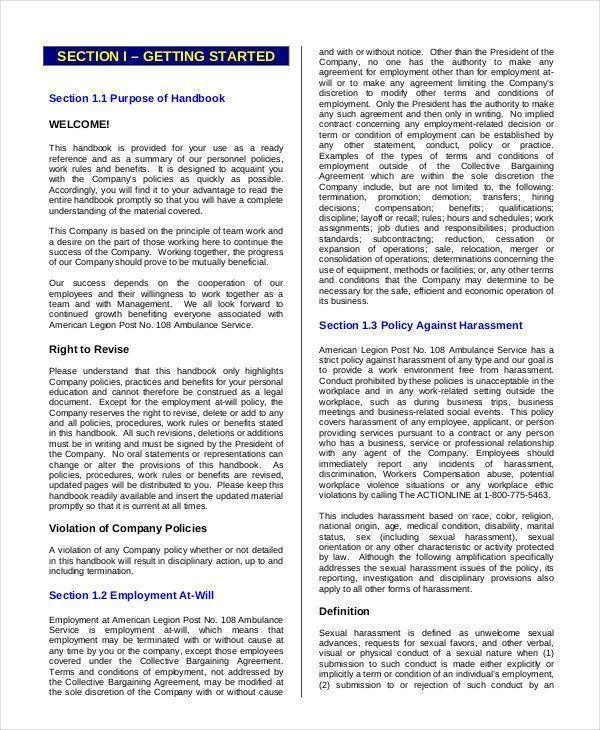 Free Employees Handbook Template Luxury Employee Handbook Template