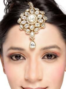 Designer  Maang tikka, desiged and crafted beautifully with CZ stones and bead work