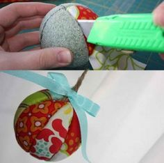 como hacer esferas de navidad con tela