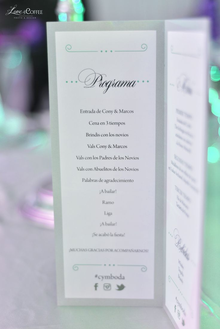 Programa de Boda! #loveandcoffee #boda #pastel #fotografia #eventos #amor #todolisto #superorganizada