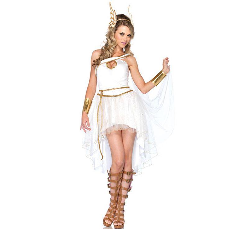 Women's White Greek Goddess Irregular Elegant Dress Halloween Costumes Queen Stage Role Cosplay Dress