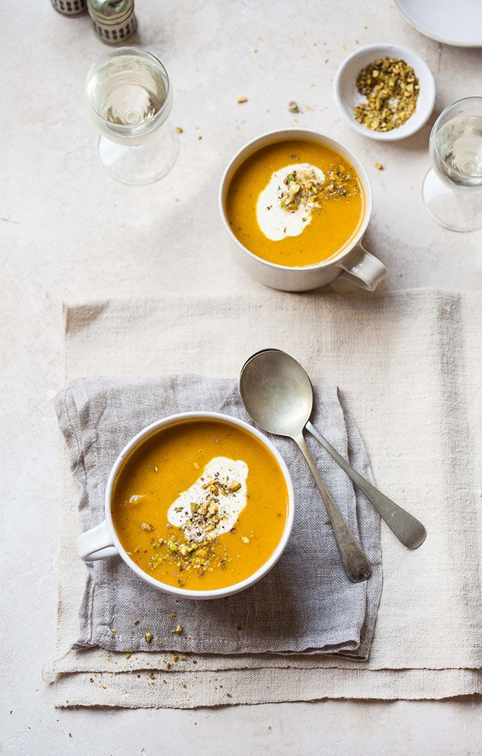 carrot and coriander soup with cumin and orange.