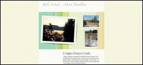 Website for Mont Tremblant Condo