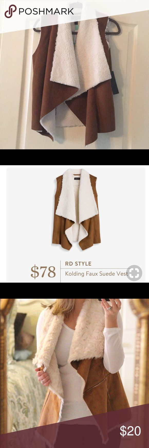 RD Style Kolding Faux Suede Vest Versatile vest that adds a stylish layer over any basic top. Soft, cozy and fashionable!  Great neutral tan suede and shearling color that goes with everything. RD Style Jackets & Coats Vests