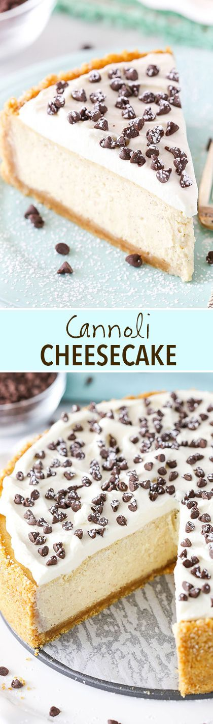 Cannoli Cheesecake! A perfect, creamy mix of ricotta and mascarpone cheese with a touch of cinnamon and mini chocolate chips!
