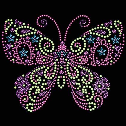 9x8  - Neon Rhinestud Butterfly - butterflies, Butterflies, Flowers Butterflies and Birds, Neon, rhinestuds, Material Transfer