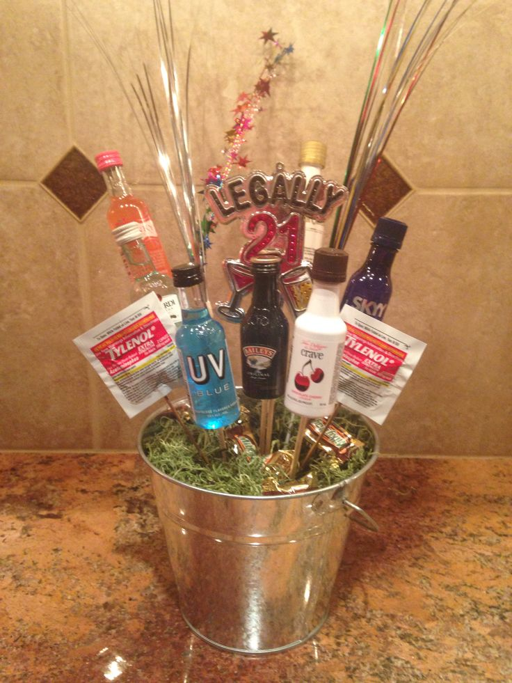 Booze bouquet - fun gift for my son's 21st birthday!