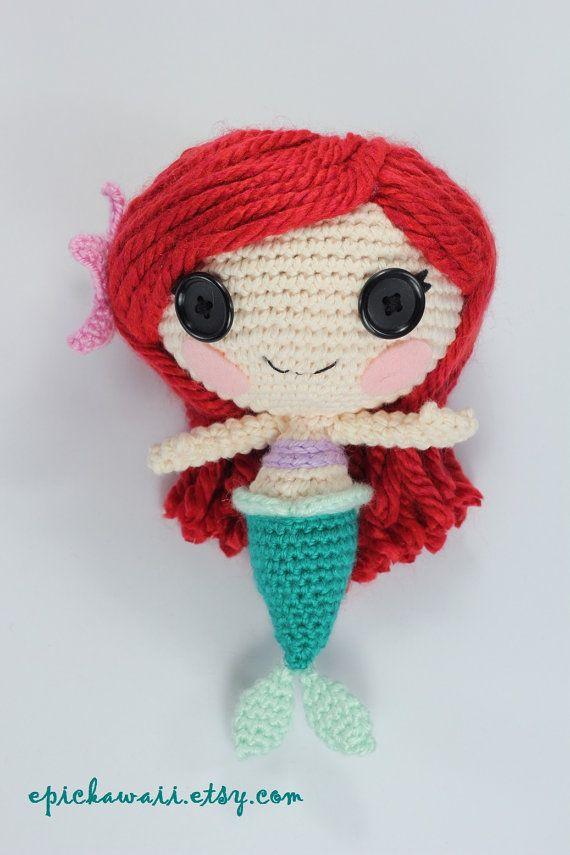 PATRÓN: Sirena del ganchillo Amigurumi muñeca por epickawaii