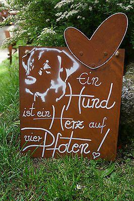Edelrost Tafel Ein Hund ist ein Herz Spruch Garten…