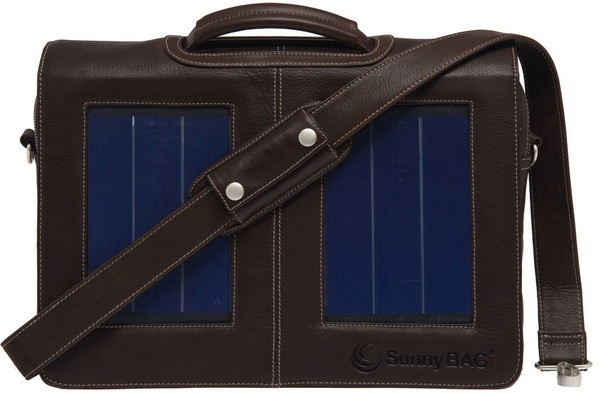 SunnyBAG Business Professional Mocha (dark brown) Leather - solar power messenger bag that charges your mobile devices while you go!