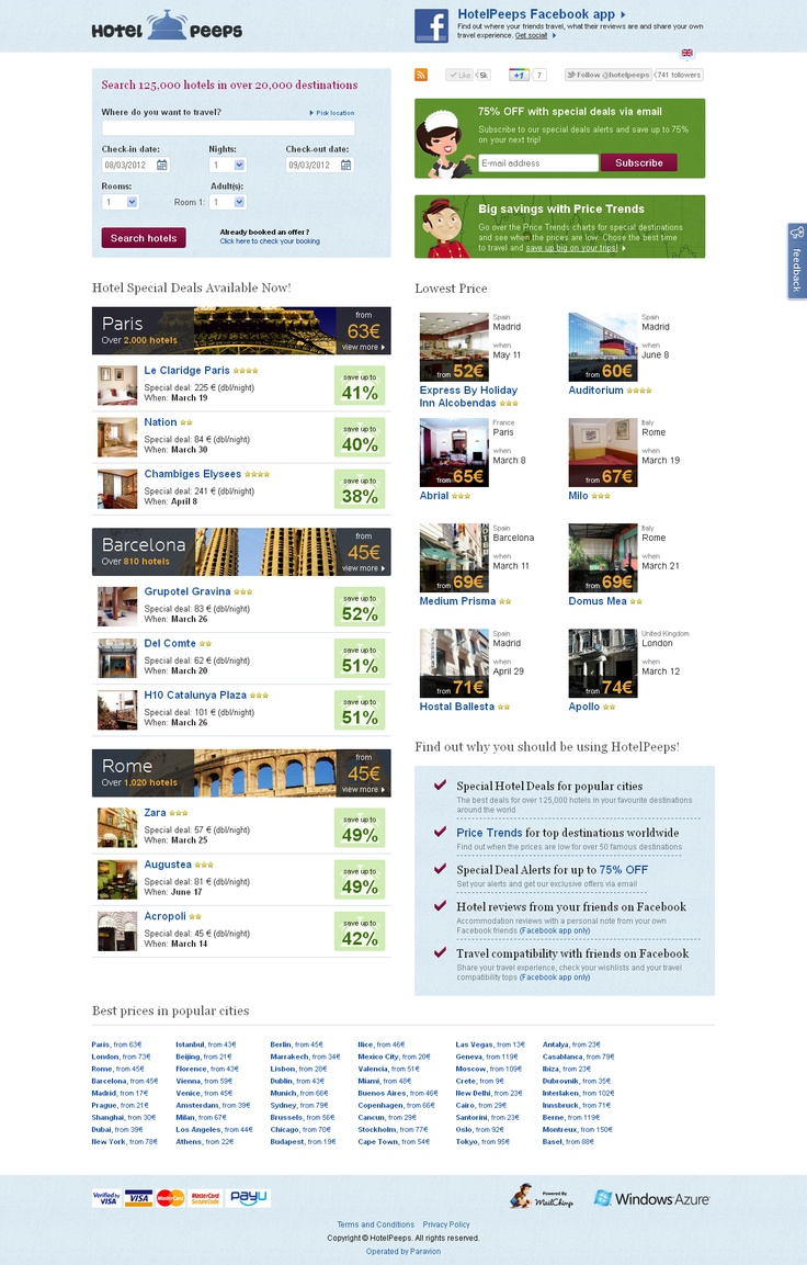 HotelPeeps is a travel concept meant to help you save up to 75% for your next trip: http://www.hotelpeeps.com/