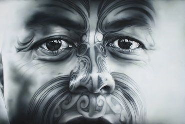 Sofia Minson.    This portrait of renowned Ta Moko (Maori tattoo) artist Turumakina Duley was created from start to finish in only two and a half weeks - definitely an inspired piece of art as it usually takes at least two or three months for Sofia to complete a painting of this size.    Wow<3