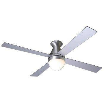 The Modern Fan Ball Flushmount Ceiling Fan, designed by Ron Rezek, generates refreshing air circulation while injecting curvy minimalism into rooms or patios with low ceilings. The Ball Flushmount Ceiling Fan may be customized to a variety of modern environments with a wide range of finish, blade span, lamping and control options.