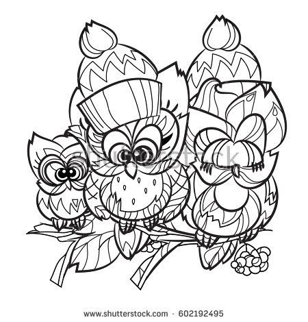 Pretty Owls on tree branch fallen in love - hand drawn doodle vector on white background.Isolated illustration zen art ready for coloring book.