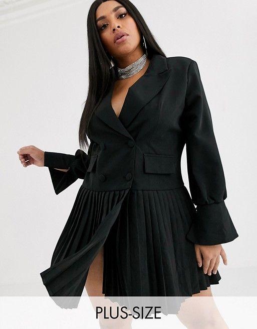 boohoo plus ndash schwarzes blazer kleid mit plissiertem rock asos