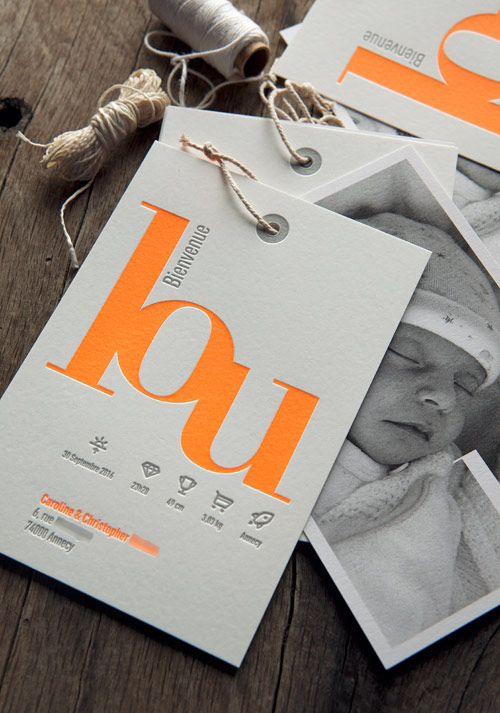 Faire-part Lou 2 cartons avec ficelle - création Agence Les Alchimistes à Annecy / Baby girl birth announcement - design Les Alchimistes