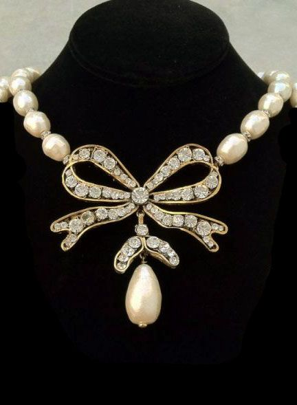 ♔ Chanel pearl and diamond necklace