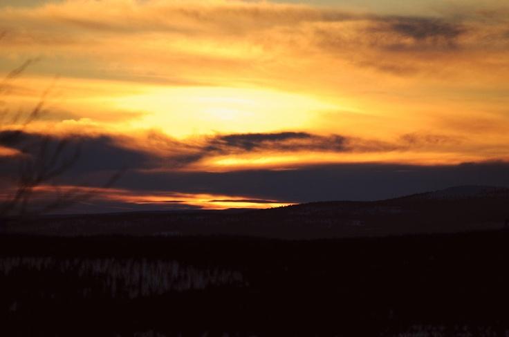 Sunset at Ylläsjärvi, Finland.