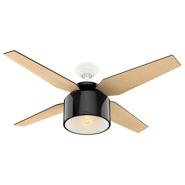 Hunter Cranbrook 52 in. LED Indoor Gloss Black Ceiling Fan-59257 - The Home Depot