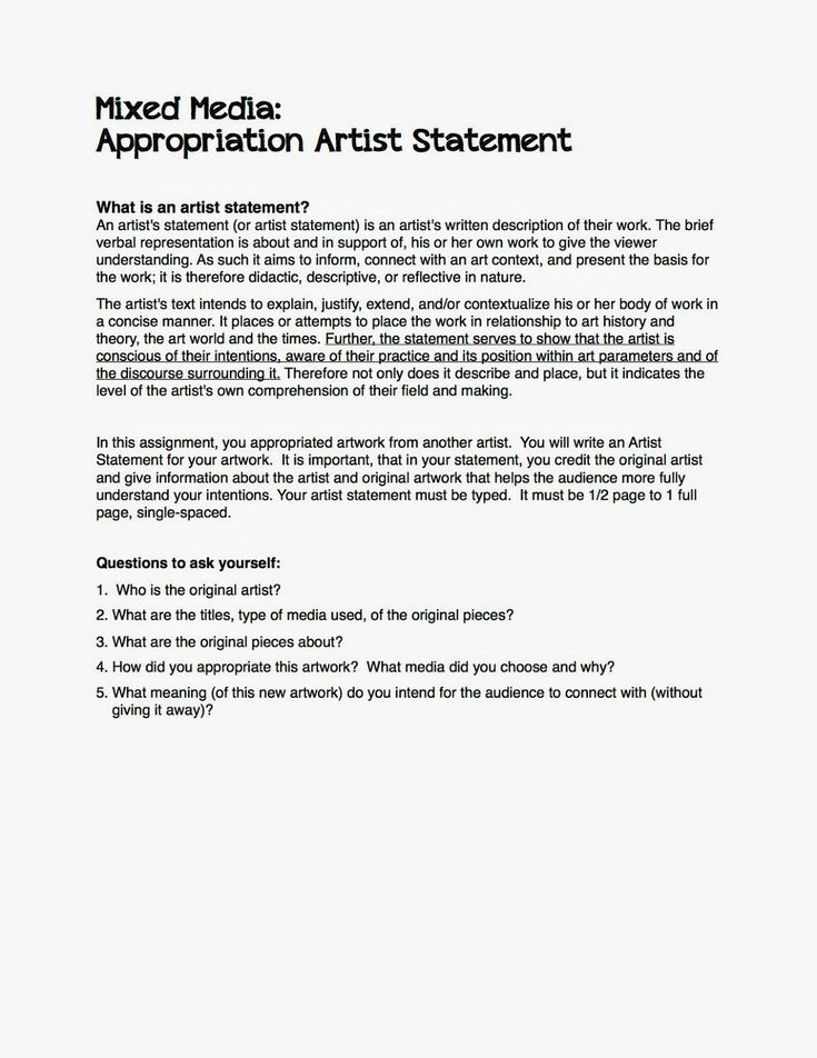 Best Artist Statements Images On   Art Classroom Art