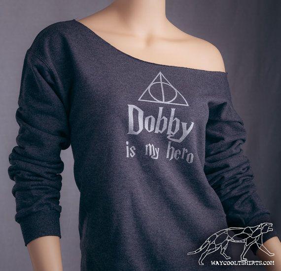 Harry Potter DOBBY Sweat. Womens Off-The-Shoulder Sweat ample. Idéal pour le monde des sorciers, chemin de traverse, Comicon, HP Parties!