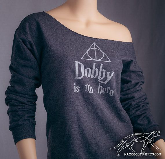 Harry Potter DOBBY Sweat. Womens Off-The-Shoulder Sweat ample. Idéal pour le monde des sorciers, chemin de traverse, Comicon, HP Parties !