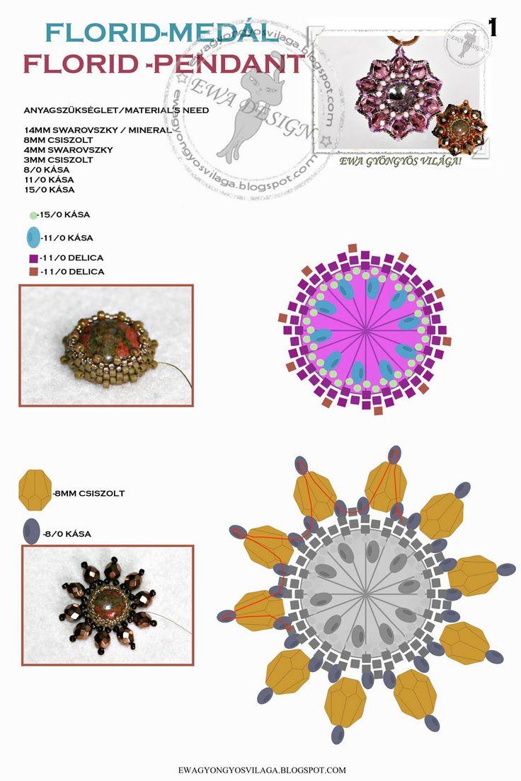 MATERIALE:  cabochon 14 mm  sfaccettate 8 mm  sfaccettate 3 mm  biconi 4 mm  delica 11/0 in 2 colori differenti  rocailles 8/0  roca...