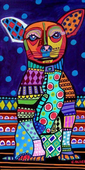 Chihuahua Art   Mexican Folk Art Print  by HeatherGallerArt, $24.00