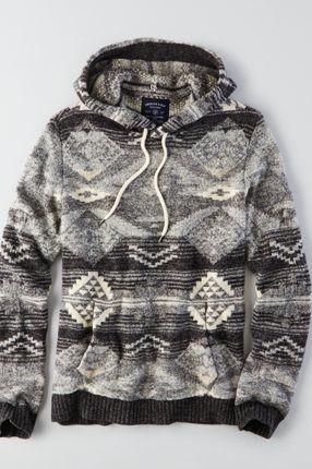 AEO Textured Baja Hoodie , Green | American Eagle Outfitters