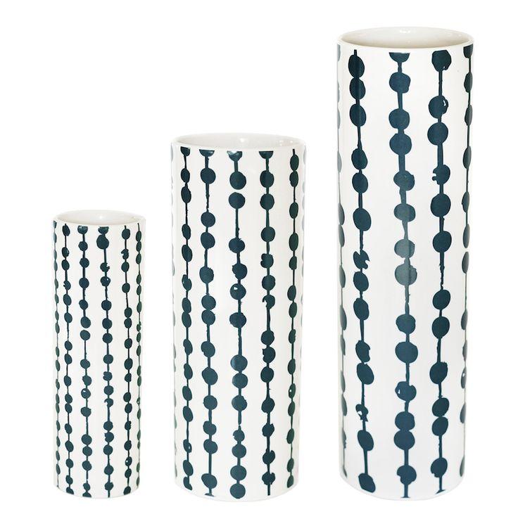 Helbak SNOR vase - mellem - cream/petrol - Tinga Tango Designbutik
